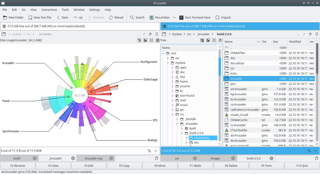 Krusader - Twin panel file management for your desktop